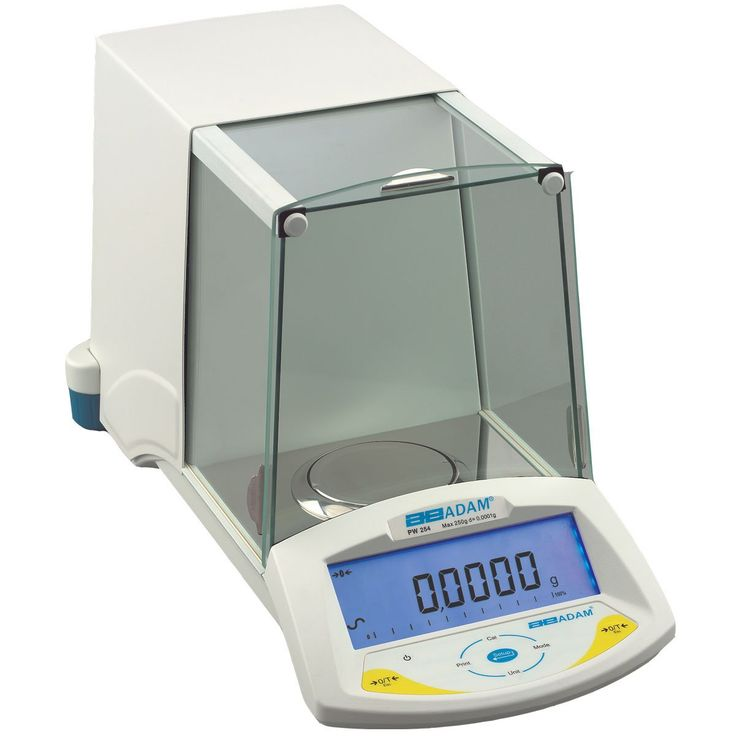 Adam Equipment Backlit LCD Display Analytical Balance, 0.0001g Readability. Analytical balance for precision weighing results. Backlit, easy-to-read digital display shows weight and application-specific results simultaneously. Stainless steel 90mm diameter weighing pan is corrosion resistant. Automatic internal calibration system ensures accurate measurements. RS-232 port connects to a printer or computer for compliance with good laboratory practices (GLP).