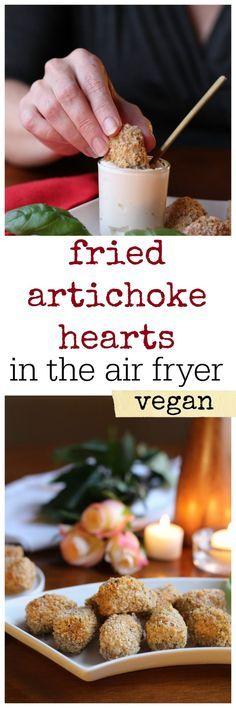 Vegan fried artichoke hearts - in the air fryer! Dip these crisp bites into vegan aioli with lemon and garlic. #sponsored #vegan #aioli #appetizer #airfryer #starter #recipe #artichokes #gowiseusa #gowise