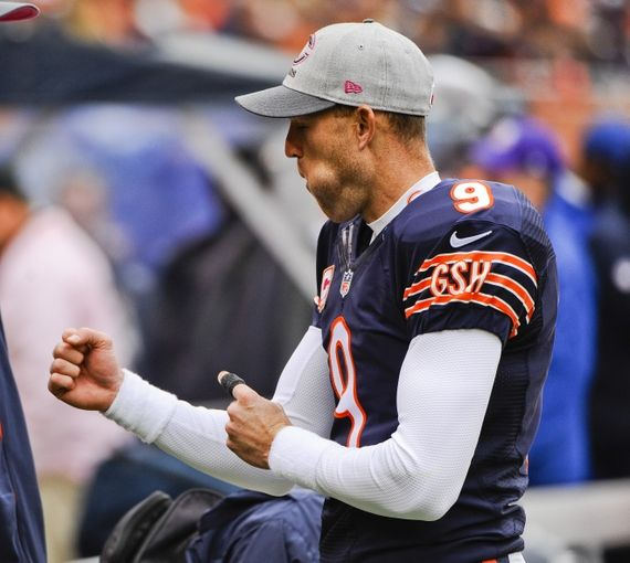Oct 4, 2015; Chicago, IL, USA; Chicago Bears kicker Robbie Gould (9) on the sidelines after scoring a field goal  in the second half of their game against the Oakland Raiders at Soldier Field. Mandatory Credit: Matt Marton-USA TODAY Sports