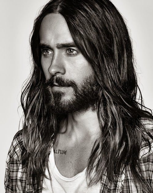 Long hair and beard- Jared Leto face shot