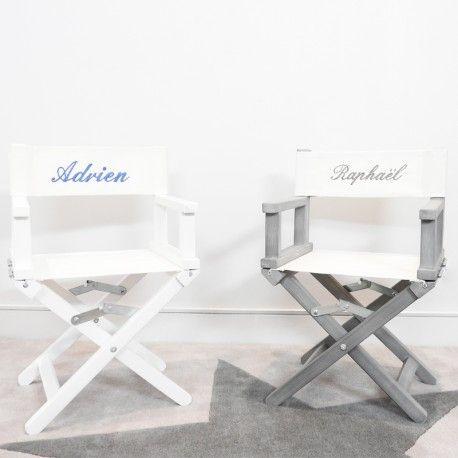 Chaise de metteur en scène en toile blanche ou grise, nanelle, personnalisable, broderie, cadeau enfant, chaise cinéma movie chair