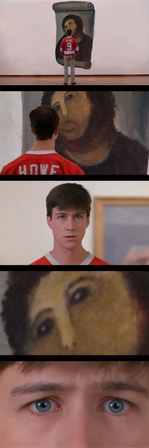 """""""Ferris Bueller's Day Off"""" with botched up Jesus painting"""