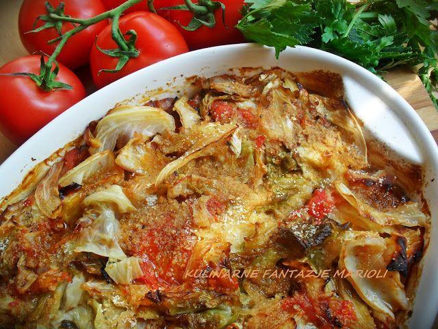 Zapiekanka z młodej kapusty i kiełbasy Kulinarne fantazje Marioli