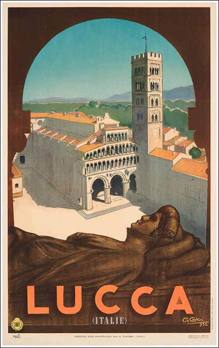 1930s Lucca, Italy vintage travel poster