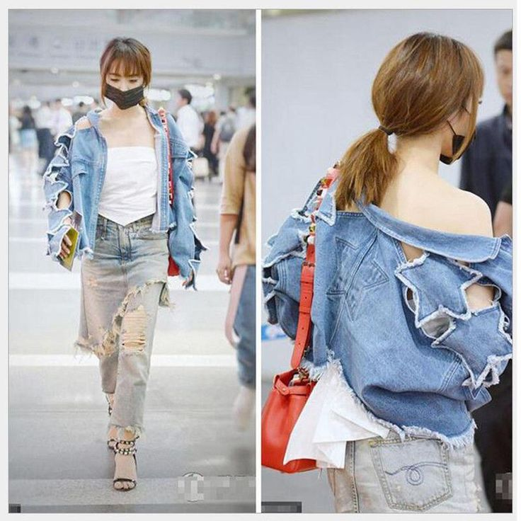 Occident Fashion Vintage Denim Jacket Pentagram Hollow Out Popular Jean Coat