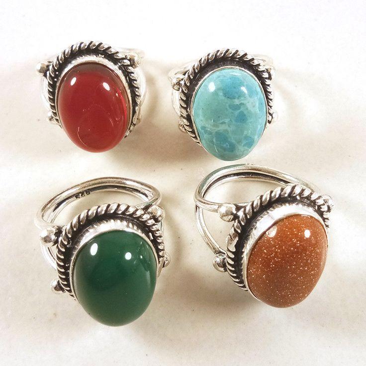 Christmas Offer ! Larimar & Garnet Gemstone 925 Silver Plated Rings Jewelry Lot. #Gajrajgems92_9 #Rings