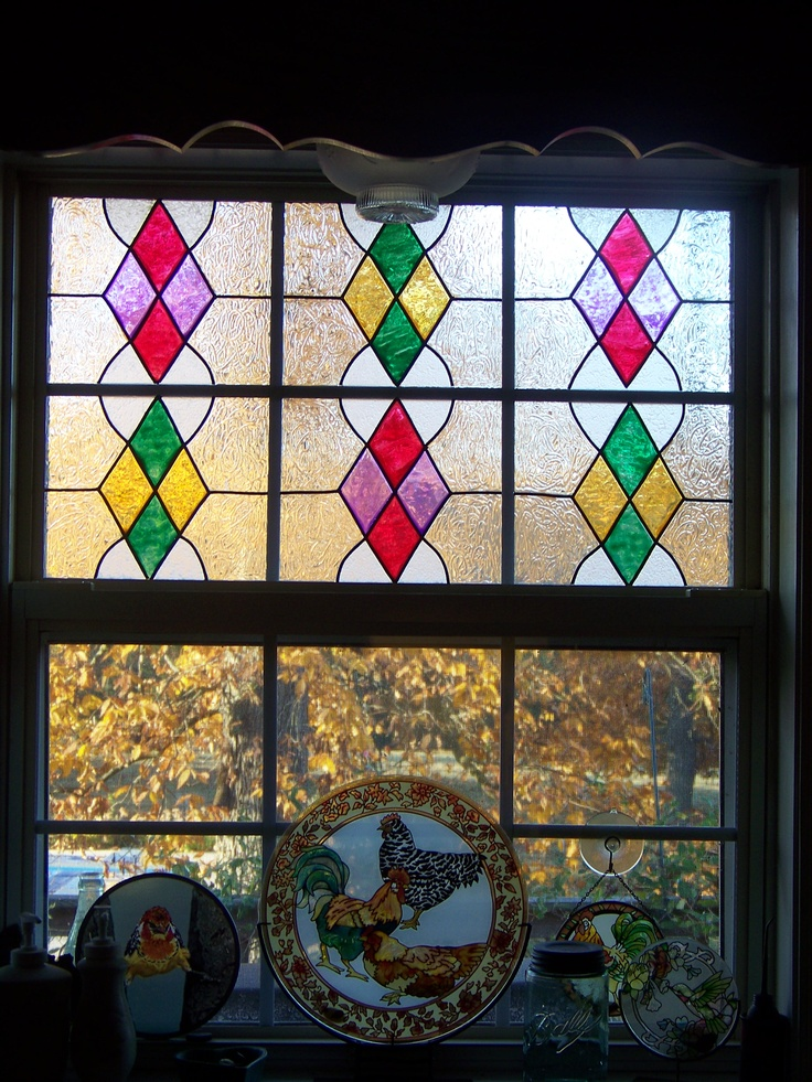 21 best house items images on pinterest bathroom ideas for Stained glass kitchen windows