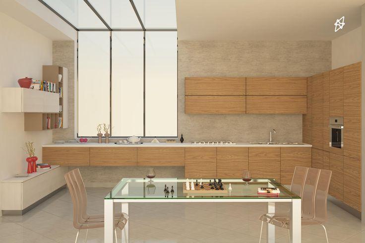 render interno cucina 3D studio max - vray - photoshop