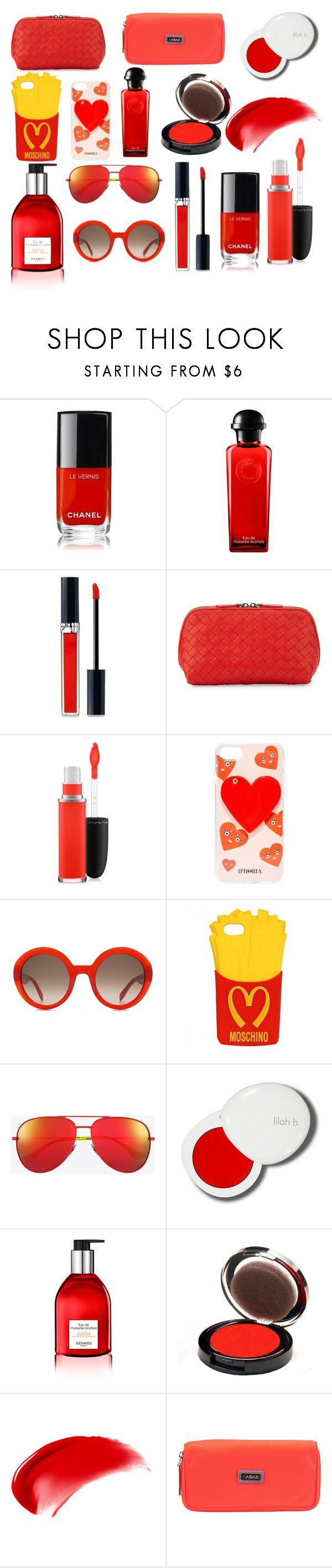 """""""Red Xmas Presents"""" by tumblr-girl-xd ❤ liked on Polyvore featuring beauty, Chanel, Hermès, Christian Dior, Bottega Veneta, MAC Cosmetics, Iphoria, Alexander McQueen, Moschino and Yves Saint Laurent"""