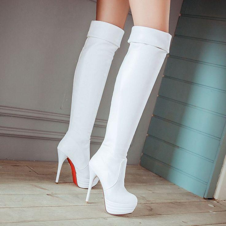 Asumer 2015 frete grátis Ultra 13 cm de salto alto fino botas ...