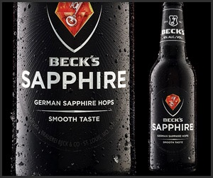 B+  Beck's Sapphire Beer. Nice beer.  Finish is not as good as the start.  Beck's high-end pilsner packs an above-average 6% alcohol content, and is made with aromatic German Saphir hops for a smooth, but peppery taste. Served in a striking black glass bottle.