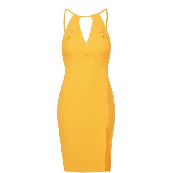 TopShop Petite Split Cut Out Midi Dress (125 NZD) ❤ liked on Polyvore featuring dresses, orange, halter dress, yellow halter dress, midi dress, halter cocktail dress and orange cocktail dress