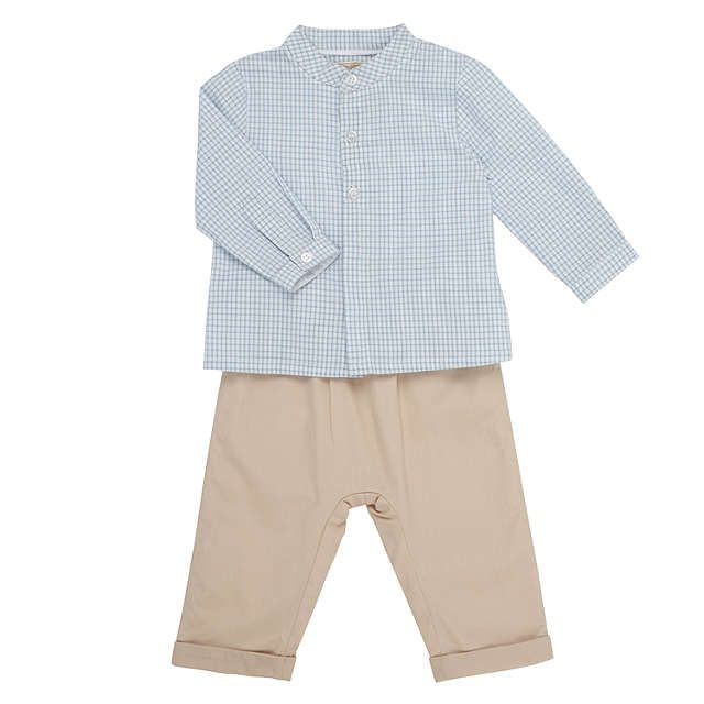 BuyJohn Lewis Heirloom Collection Baby Gingham Shirt and Trousers Set, Grey/White, 0-3 months Online at johnlewis.com