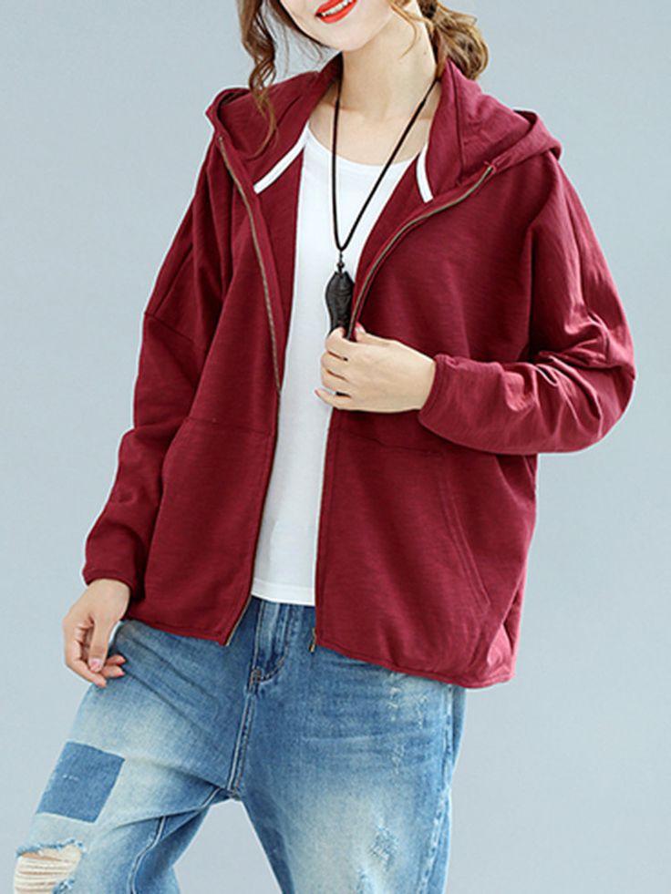Casual Batwing Sleeve Zipper Hooded Sweatshirts For Women