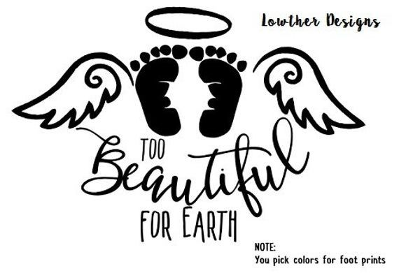 An angel in the Too beautiful for Earth Remembrance Miscarriage Memorial Gift Infant Loss Still Birth Child Loss book of life