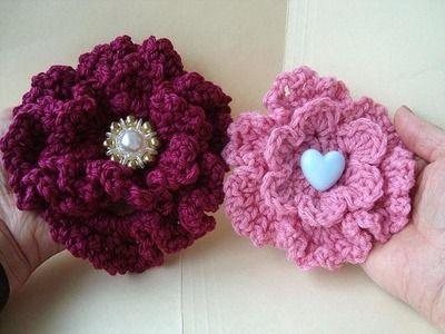 CROCHET FLOWER # 12, How to crochet a Ruffled Rose, 5 inch flower
