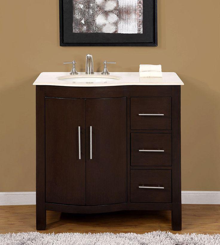 36 Inch Marble Top Bathroom Vanity Off Center Left Side