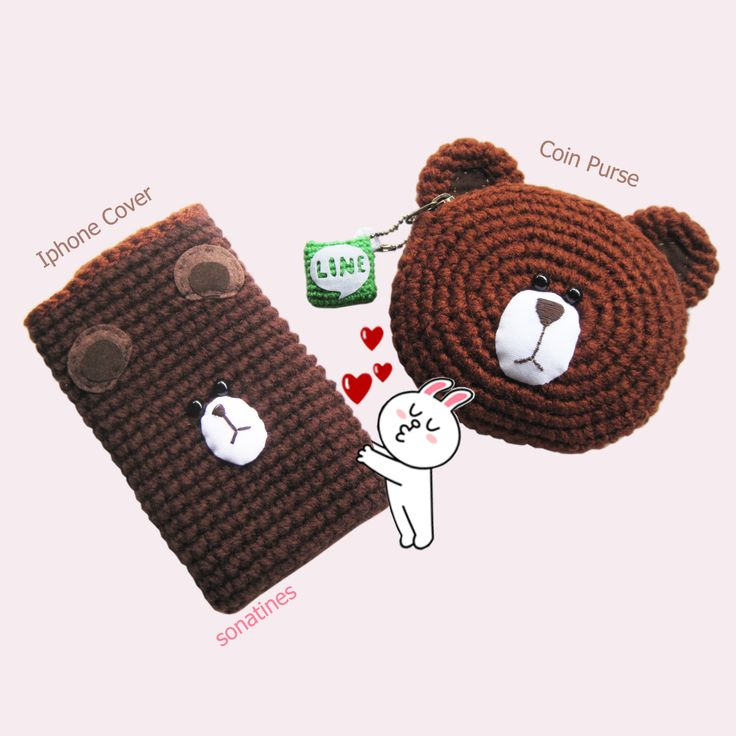 Crochet Brown Bear Iphone cover for 4 , 4s , 5 ^^