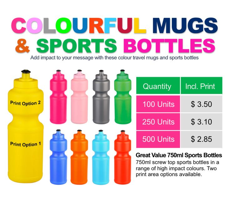 Great Value 750ml Sports Bottles. 750ml screw top sports bottles in a range of high impact colours. Two print area options available.