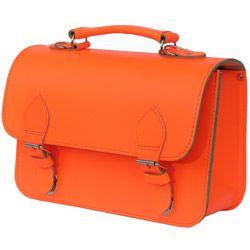 Fluor oranje lederen handtas of kleutertas