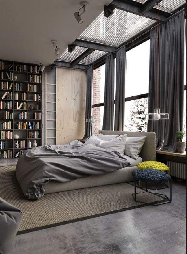 Cool Masculine Bedroom for Mens Gray Colors Apartment with Big Wall Bookshelf Decor