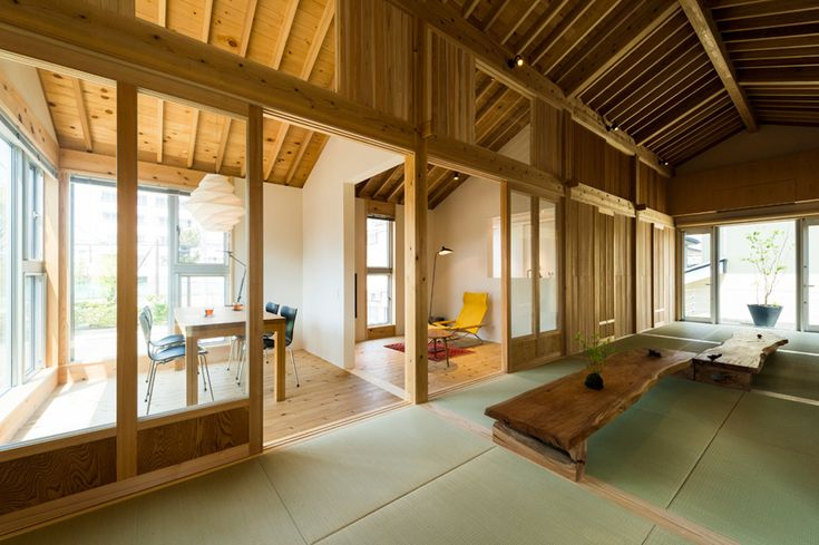 Traditional Japanese flooring mats define the proportions of this house in Niigata, designed by Tokmoto Architectures Room as a strict grid of squares