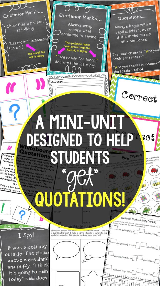Teach students about writing with quotations in a FUN and HANDS-ON way! This mini-unit is packed with interactive anchor charts and  activities to make understanding quotations easier! $