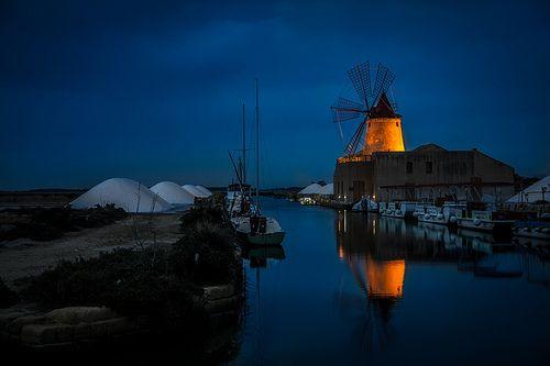 Sicilia Marsala Windmill in Blue