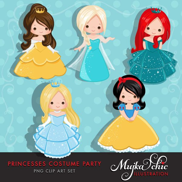 Princess Costume Party Clipart with cute characters Instant Download Princess Graphic