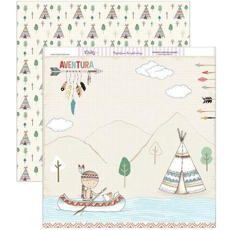 Papel scrapbook de aventuras con una canoa, un tipi y un paisaje, y un estampado de árboles y tipis #scrap #conideade #manualidades