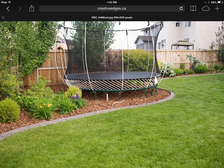 back garden with trampoline - Google Search