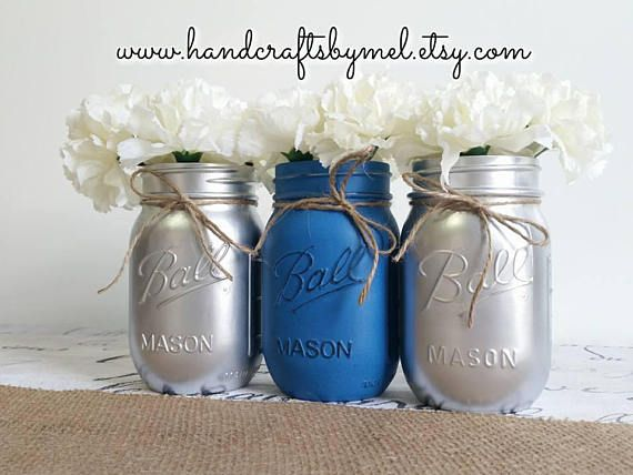 Turquoise White Royal Blue Distressed Painted Mason Jars Mason