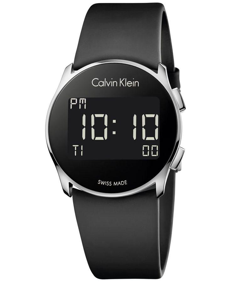 Calvin Klein Women's Swiss Digital Future Black Rubber Strap Watch 39mm K5B23TD1