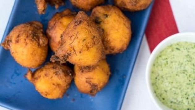 Get Crab Hush Puppies with Cilantro-Jalapeno Dip Recipe from Food Network