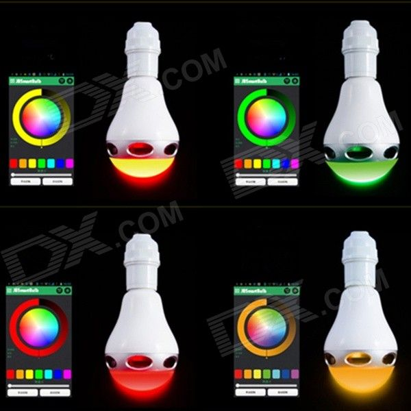 36eur - E27 6W White / RGB Light LED Bluetooth V3.0 Speaker for Android + iOS Devices - White + Silver