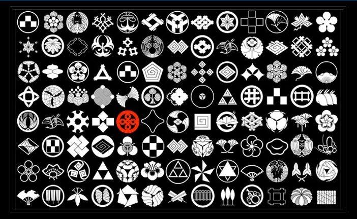 símbolos heráldicos japoneses ou emblemas dos clãs (família)  KAMON(Family crest)