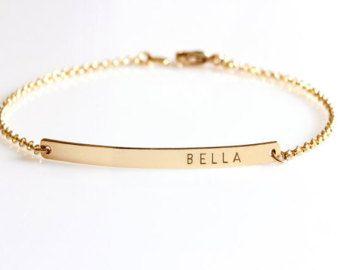 Lingot d'or bracelet, Custom nom Bracelet, Bracelet gravé, bracelet personnalisé Initial, Bracelet Monogram plaque signalétique, cadeau de demoiselles d'honneur