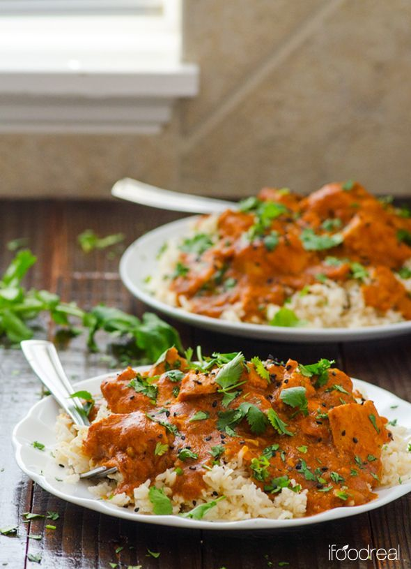 Healthy Crockpot Butter Chicken is Indian comfort food recipe made healthier and lighter with coconut milk. No butter or heavy cream used and it cooks while you are away. | ifoodreal.com