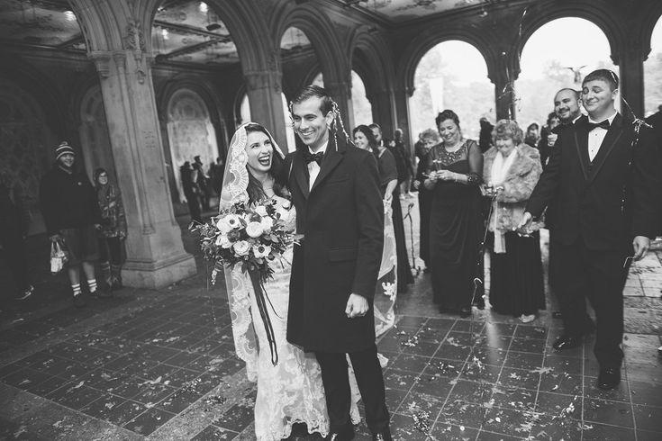 Natalie and Jason's Wedding Underneath Bethesda Terrace, Central Park, New York in November