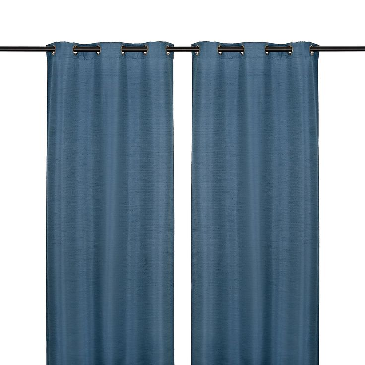 Product Details Navy Raw Silk Curtain Panel Set, 96 in
