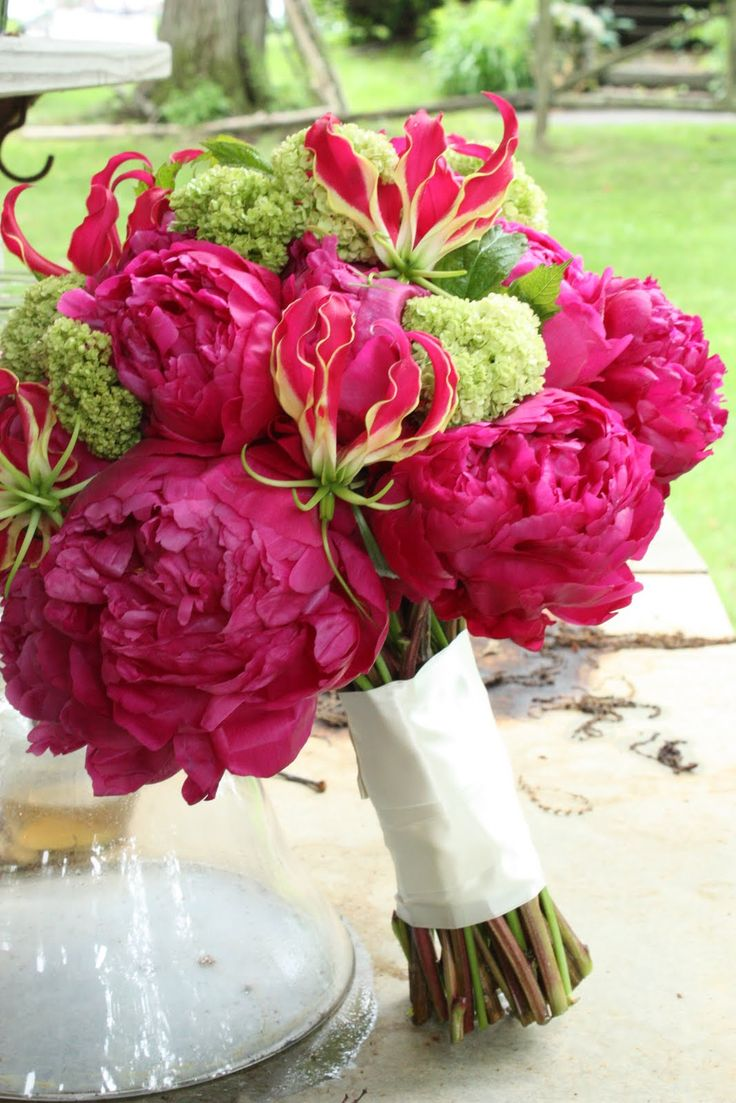 peonies, gloriosa lilies, and viburnum (snowball)