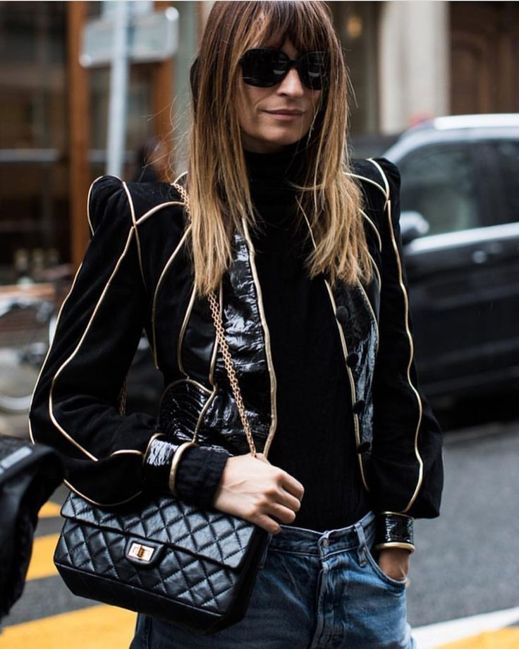 """3,846 Likes, 34 Comments - Caroline de Maigret (@carolinedemaigret) on Instagram: """"Black and gold is the best cure to hangovers, It distracts attention photo @sandrasemburg"""""""