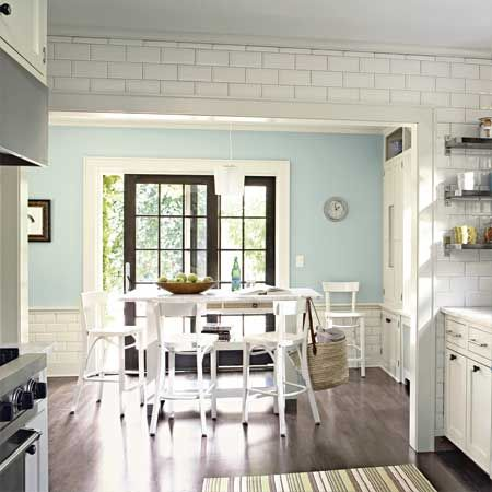 Lovely kitchen color - turquoise, white, light grey and light lime