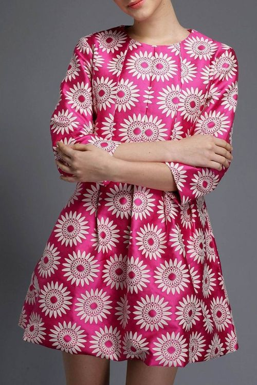 3/4 Sleeve Sunflower A-Line Dress