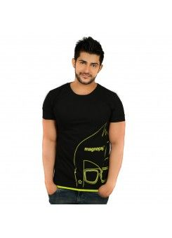 Magnoguy : Printed Men's Round Neck Black & Parrot Green  T-Shirt