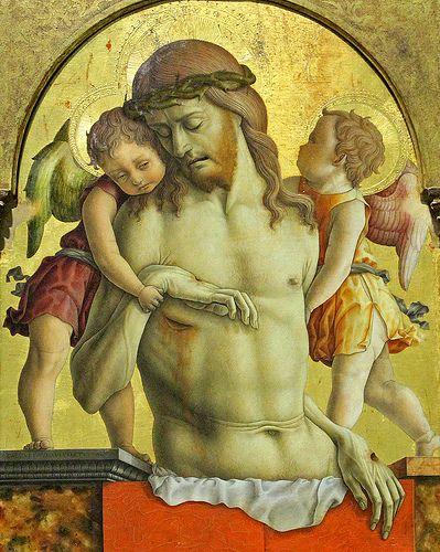 Carlo Crivelli, Dead Christ supported by Angels CARLO CRIVELLI (Venezia, 1430/1435 circa – 1494/1495 circa)    #TuscanyAgriturismoGiratola