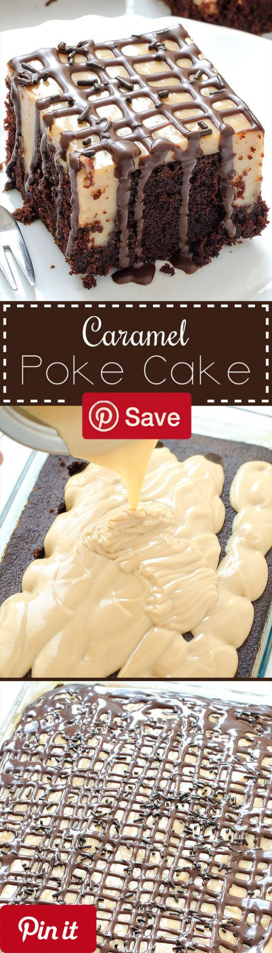 Caramel Poke Cake - Caramel Poke Cake you will love this cake! Perfect combination of caramel and chocolate! Caramel Poke Cake the best cake Ive ever made! So delicious and moist! - Ingredients Vegetarian Refrigerated 2 Eggs Condiments 1 Caramel sauce 1 Chocolate sauce Baking & Spices 1 tsp Baking powder 1 tsp Baking soda cup Cocoa powder unsweetened 1 cups Flour 2 cups Granulated sugar 1 Pinch Salt 1 tsp Vanilla extract Oils & Vinegars cup Vegetable oil Drinks 1 cup...