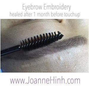 Healed after one month before touchup. Results vary per individual.  Brow Embroidery www.JoanneHinh.com