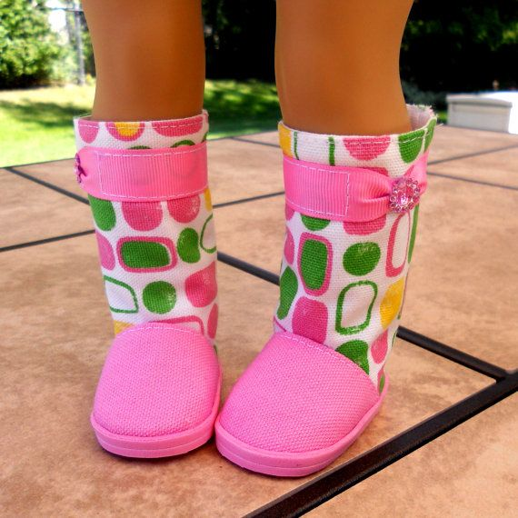 """Cotton Candy Pink Boots for American Girl Dolls and 18"""" Dolls - Made to Order"""