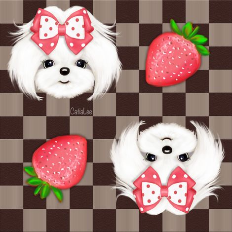 Maltese chocolate and red Strawberry M fabric by catialee on Spoonflower - custom fabric